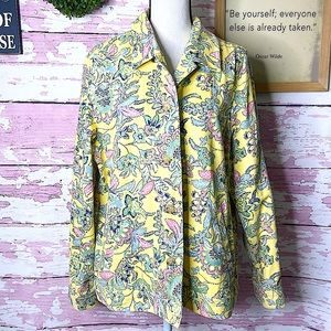 THE TOG SHOP Yellow Floral Print Jacket Size Large